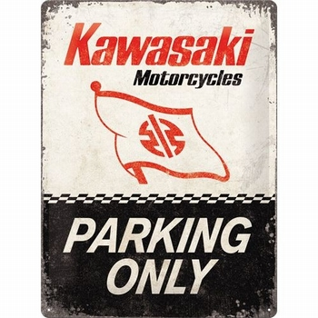 Kawasaki motorcles parking only metalen relief recla