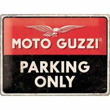 Moto Guzzi parking only metalen relief bord