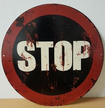 Stop bord rond metalen wandbord old look