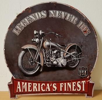 Legends never die usa motor metalen wandbord