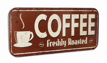 Coffee freshly roasted metalen XXXL wandbord