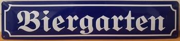 Biergarten metalen wandbord straatnaambord relief