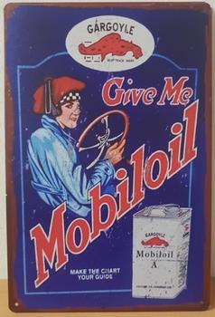 Gargoyle mobiloil motor olie metalen reclamebord