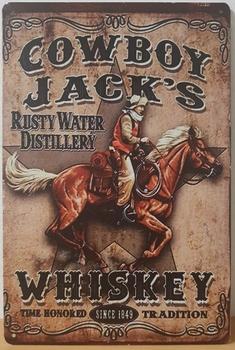 Cowboy jacks whiskey metalen reclamebord