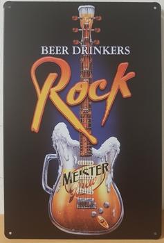 Beer drinker rock gitaar metalen reclamebord