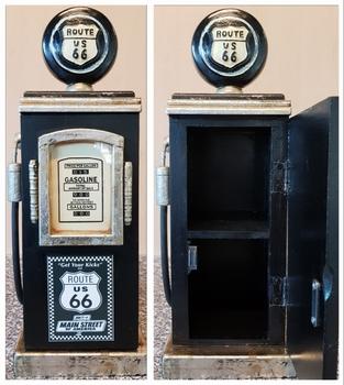 Benzinepomp kast zwart route 66