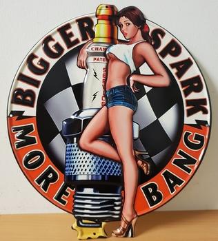 Bigger sparkle boogie pinup uitgesneden relief metalen bord