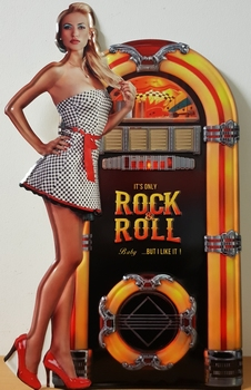 Rock n roll jukebox pin up metalen relief wandbord