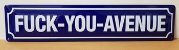 Fuck you avenue metalen straatnaambord