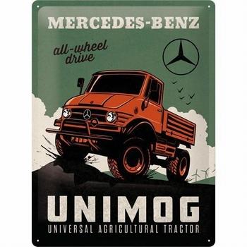 Mercedes benz unimog metalen relief reclamebord