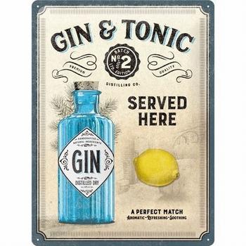 Gin en Tonic citroen vintage reclamebord relief