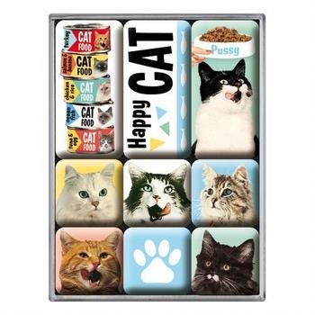 Happy cats katten set van 9 magneetjes