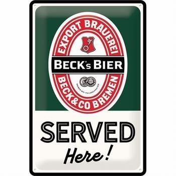 Becks bier served here metalen relief reclamebord