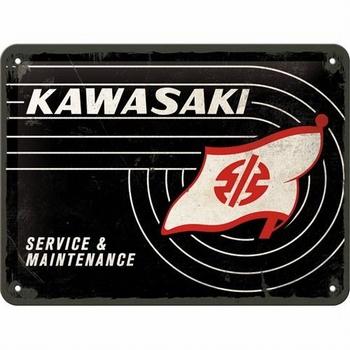 Kawasaki service en maintenance metalen relief reclame