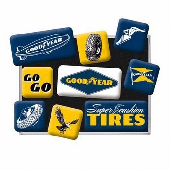 Goodyear tires set van 9 magneetjes