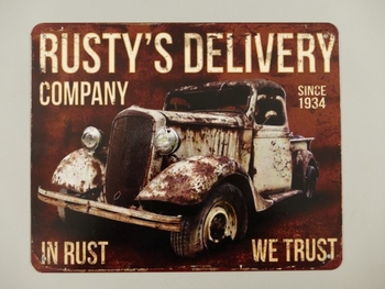Rusty's delivery company metalen bord 25x20