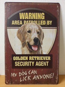 Golden retriever security service metalen wandbord