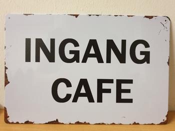 Ingang cafe metalen wandbord cafe bar horeca