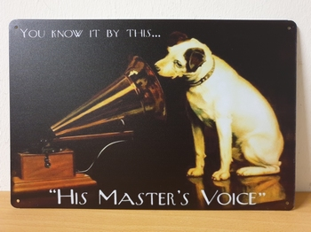 His master voice grammofoon nipper metalen reclamebord