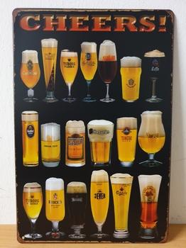 Cheers bier glazen zwarte achtergrond metalen wandbord