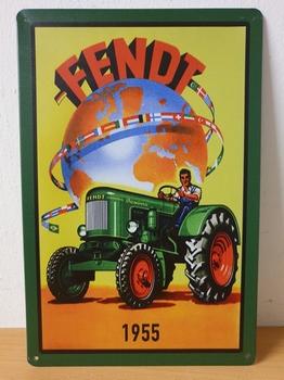 Fendt tractor 1955 wereld metalen reclamebord