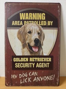 Golden retriever security service metalen wandbord