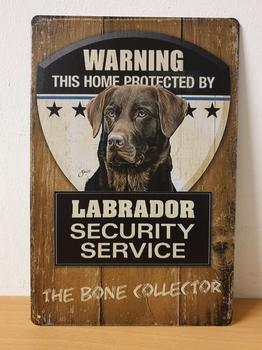 Labrador bruin security metalen wandbord