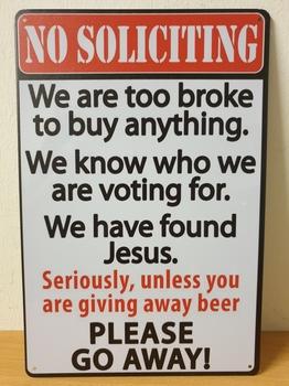 No soliciting go away grappig metalen wandbord