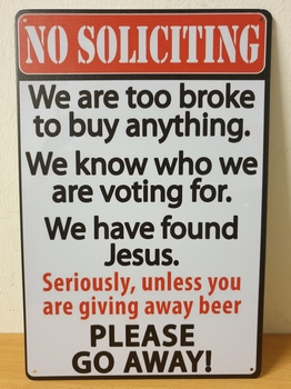 No soliciting go away grappig metalen wandbord