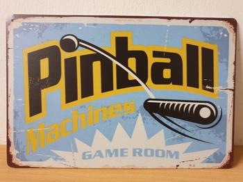 Pinball blauwe flipper metalen wandbord