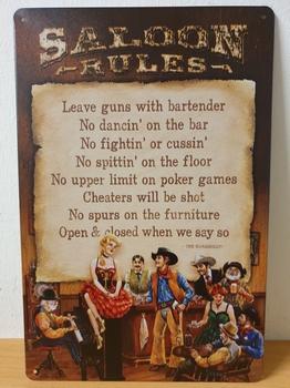 Saloon rules regels metalen wandbord