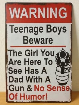 Warning teenage boys metalen wandbord vader dad