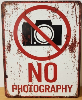 No Photgraphy geen foto's metalen wandbord
