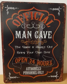 Official man cave metalen wandbord 33x25cm