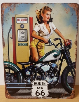Route 66 pin up motor metalen wandbord 33x25cm
