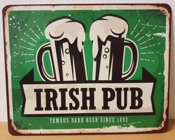 Irish pub bier metalen reclamebord
