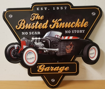 The busted knuckle garage zwarte auto metalen wandbord