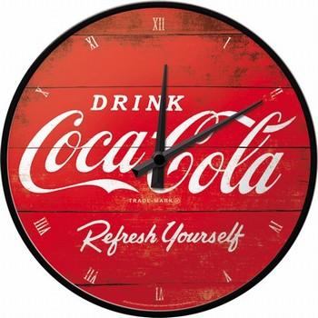 Coca cola rode logo refresh your self wandklok