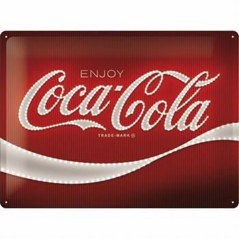 Coca cola logo red lights metalen relief reclamebord