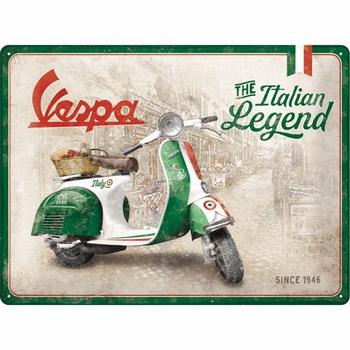 Vespa Italian legend Metalen reclamebord relief