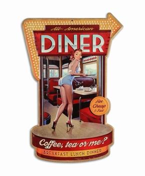 All american diner XL metalen uitgesneden bord
