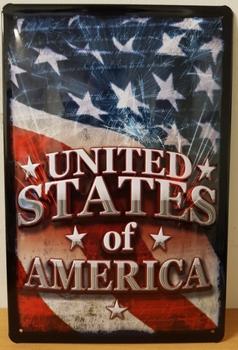 United states of america vlag wandbord van metaal met relief
