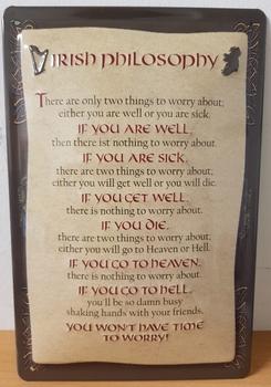 Irish philosophy metalen wandbord pubbord RELIEF