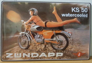 Zundapp KS50 watercooled metalen reclamebord RELIEF