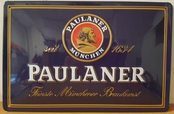Paulaner munchen  metalen reclamebord RELIEF
