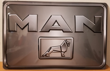 MAN logo grijs metalen reclamebord RELIEF