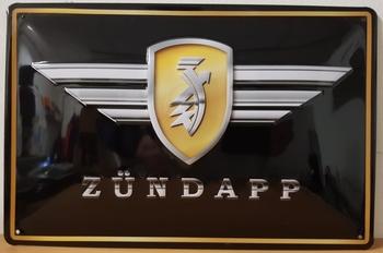 Zundapp logo zwart geel metalen wandbord  RELIEF 30x20