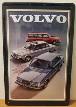 Volvo 3 auto's metalen wandbord RELIEF