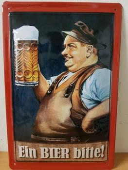 Ein bier bitte metalen reclamebord RELIEF