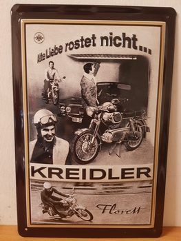 Kreidler florett alte liebe rostet nicht  metalen reclame
